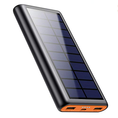 QTshine Solar Powerbank 26800mAh, Externer...