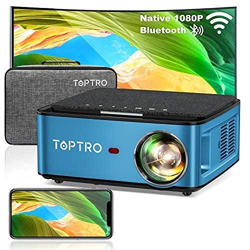 TOPTRO Mini Beamer, WiFi Bluetooth Beamer...